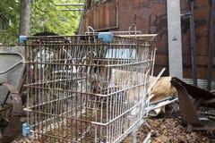 Rusting shopping cart in junkyard royalty free stock photos