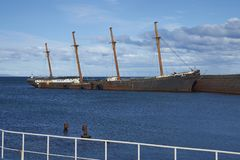 Historic ship on the waterfront of Punta Arenas, Chile Royalty Free Stock Images