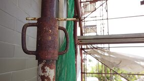 Rustry scaffolding blur background scaffold on building details