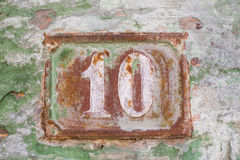 Rustted numero 10 (dieci) Fotografie Stock
