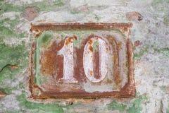Rustted nummer 10 (tio) Arkivfoton