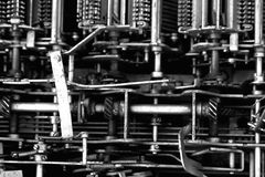 Rusty. Background of rusty metal machine parts - black & white Royalty Free Stock Image