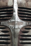 Rusty abandoned automobile grill in vertical format Royalty Free Stock Photo