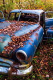A rusty abandoned car in the woods. Stock Photo