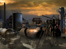 Rusty and abandoned industry. Rusty and abandoned industrial installations, with tanks, machinery, a factory with a big chimney, and an abandoned tank truck royalty free illustration