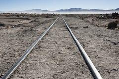 Rusty and abandoned old railways at the Train Cemetery Cementerio de Trenes in Uyuni desert, Bolivia stock image