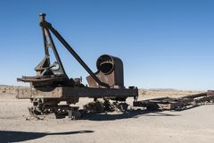 Rusty and abandoned old trains at the Train Cemetery Cementerio de Trenes in Uyuni desert, Bolivia stock photography