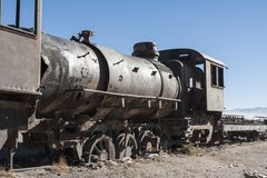 Rusty and abandoned old trains at the Train Cemetery Cementerio de Trenes in Uyuni desert, Bolivia stock image