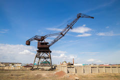 Rusty abandoned port crane in former Aral harbor, Kazakhstan.  Royalty Free Stock Images