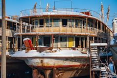 Rusty abandoned river ships Stock Images