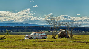 Rusty abandoned vehicles on an Aussie farm Stock Photo