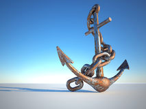Rusty anchor. Rusty and eroded anchor with chain - 3d render stock illustration