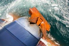Rusty anchor of a cargo ship Stock Photography