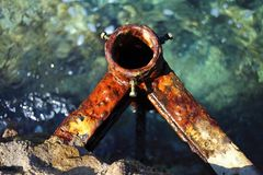 Rusty anchor by the sea royalty free stock images