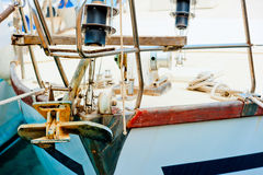 Rusty anchor of a yacht. Royalty Free Stock Photos