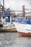 Rusty Anchored Fishing Ships Imagen de archivo libre de regalías