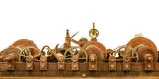 Rusty ancient church clock mechanism isolated on white Stock Photo