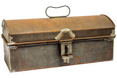 Rusty ancient storage box isolated on white Stock Photo