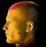 Rusty android. Futuristic rusty android profile. 3d digitally created illustration Stock Image