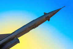 Rusty antiaircraft rocket of a surface-to-air missile system are Stock Photos