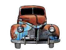 Rusty Antique Car. An Illustration of a Rusty Antique Car Isolated against a white background Stock Photography