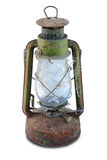 Rusty Antique oil lamp. Covered with a web Stock Image