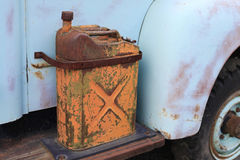 Rusty Antique U.S. Military Gas Can - ca. 1945. Vintage 5 gallon metal U.S. Military gas or water can called a Jerry Can with spout bolted to sideboard of stock images