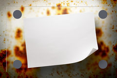 Rusty background. Blank rusty background with blur board and paper royalty free stock photography