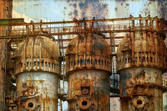 Rusty background with old steel furnace Royalty Free Stock Images