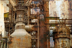 Rusty background with old steel furnace Stock Photos