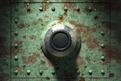 Rusty bank safe. Old and rusty bank vault (3d render Stock Photo