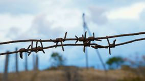 Rusty barbed wire close-up. stock footage