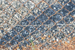 Rusty barbed wire fence Stock Images