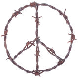 Rusty barbed wire peace sign. Isolated on white Stock Photo