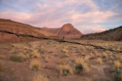 Rusty Barbwire com fundo vermelho do deserto da rocha no Arizona imagem de stock
