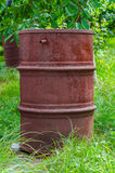 Rusty barrel. In the garden Royalty Free Stock Photos