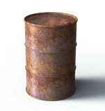Rusty barrel leaking oil isolated on white Stock Photography