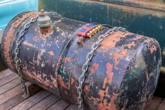 Rusty barrel and shotgun shells Stock Photo