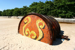 Rusty Barrel On Tropical beach Royalty Free Stock Images