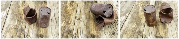 Rusted beer can soup barn wood collage. Rusty beer beverage can food metal tin can on weathered antique wood floor board rust background copy space pattern Royalty Free Stock Photos