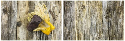 Rusty beer can work gloves barnwood. The rusted metal beer beverage tin can opener leather work glove  collage weathered wooden grungy background texture pattern Stock Photo