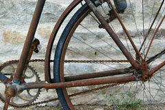 Rusty bicycle. Part of a very old rusty bicycle Stock Photos