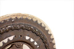 Rusty bicycle gear chain macro Royalty Free Stock Images