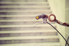 Rusty bicycle handlebar in vintage effect Royalty Free Stock Photo