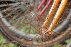 Rusty Bicycle Spokes Imágenes de archivo libres de regalías