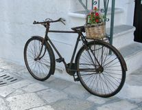 A rusty bicycle  in the white city Ostuni in Italy Royalty Free Stock Images