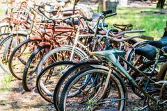 Rusty Bikes in a Junkyard Stock Photography