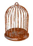 Rust birdcage emptied rustic prison Royalty Free Stock Photos