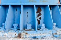 Rusty blue  Iron-pillar close-up royalty free stock photos