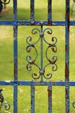 Rusty blue painted gate. With a pattern Stock Photo